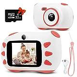 Kinderkamera, RUMIA Digitalkamera Fotoapparat Mit 2 Zoll IPS Bildschirm, 1080P HD Kinder Kamera, 32G TF-Karte, USB-Kabel & Lanyard für Junge Mädchen Kinder (Rosa)
