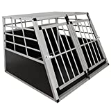 Sam´s Pet Alu Hundetransportbox XL - 91 × 96 × 69 cm – Auto Hundebox robust & pflegeleicht – 2 Gittertüren verschließbar - Reisebox für Hunde
