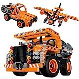 Sillbird STEM Bauspielzeug für Kinder, kreatives Konstruktionsspielzeug Flugzeug/Muldenkiplaster/Transportlastwagen, Engineering Gebäudegeschenk für Jungen Mädchen ab 6 7 8 9 Jahre alt (361 Teile)