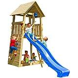 Blue Rabbit 2.0 Spielturm Belvedere mit Rutsche Kletterturm mit Kletterwand Glocke Sandkasten Lenkrad und Holzdach (Rutschenlänge 2,30 m, Blau)