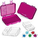 My Vesperbox – Bento Box Kinder - Lunchbox mit 4+2 Fächern - extrem robust – Brotdose – Brotbox ideal für Kindergarten und Schule… (Lila)