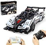 SaiKer Bausteine Auto Modell, 457 Teile 2.4G Ferngesteuert Sportwagen mit Led Rennwagen Bausatz Kompatibel mit Lego