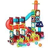 Veluoess 110 Teile Murmelbahn, Magnetische Bausteine Set Konstruktion STEM Bausteine Set Bunte Rollbahn Kugelbahn Spielzeug Montessori Spielzeug für Kinder 3+