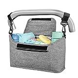 Yoofoss Kinderwagen Organizer Kinderwagentasche Multifunktionale und Praktische Aufbewahrungstasche Buggy Organizer Wickeltasche 33x11x17cm-hellgrau