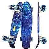 WeSkate Kinder Retro Skateboard 22' 55cm Mini Cruiser ABEC-9 Kugellager mit PU LED Leuchtrollen für Erwachsene Kinder Jungen Mädchen