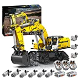 Bybo Technik Bagger Bausteine, Technik Raupenbagger mit 6 Motoren und 3 Ferngesteuert, Kompatibel mit Lego technic - 2071 Telie