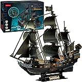 3D Puzzle 68cm Black Pearl - Queen Anne's Revenge GroßEs Modellschiff, 3D Puzzle Erwachsene, Kind Eburtstagsgeschenk FüR Erwachsene,293 StüCk LEDPiratenschiff Puzzle.