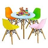 GOPLUS 5 Tlg Kindersitzgruppe, Runder Tisch mit 4 Stühlen, Beine aus Bucheholz, Kindersitzgarnitur belastbar bis 50kg, Skandinavisches Kindermöbelset für 3-12 Jahren (Modell 1, Bunt)