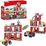 2-in-1 Feuerwehrstation Bausets mit Feuerwehrauto Stadt Feuerwehrbausteine für Kinder Konstruktionsspielzeug Weihnachtsgeschenk für Jungen und Mädchen im Alter von 6–12 Jahren 178 Stück