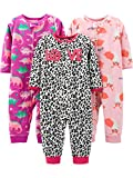Simple Joys by Carter's 3-pack Loose Fit Flame Resistant Fleece Footless Pajamas Sleepers, Fox/Dino/Leopard Print, 18 Months