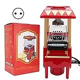 Retro Popcorn Maker, Haushalts-Heißluft-Popper-Maschine, Rotes Retro-Modell Automatische Popcorn-Maschine Haushalts-Corn-Popper für Den Heimgebrauch, Party, Filmabende und Geburtstagsgeschenk(EU Plug)