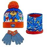 PAW PATROL Schal Mütze Set Und Handschuhe Jungen, Warme Wintermütze Set Für Kinder und Jugendlichen, Einheitsgröße Geeignet Ab 3 Bis 7 Jahren Alt