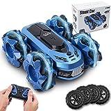 Kqpoinw Ferngesteuertes Auto, RC Cars Race Stunt Car, 2,4 GHz, 4WD, 360° Rotation, Seitwärtsdrift, doppelseitig rotierende Fahrzeuge, High Speed Offroad für Jungen Kinder RC Auto Spielzeug (Blau)
