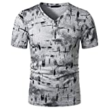 T-Shirt Herren Slim Fit V-Ausschnitt Mode Druck Kurzarm Herren Freizeitshirt Atmungsaktiv Persönlichkeit Herren Muskelshirt Trend Bar Herren Shirt D-Gray XL
