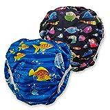 Fakiku Schwimmwindel Costumino 0-36 Schwimmwindeln, verstellbar, waschbar und wiederverwendbar, für Schwimmbad und Meer, 2 Stück im Paket (schwarz)