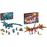 Lego 71754 NINJAGO Wasserdrache Drachen Spielzeug für Kinder ab 9 Jahre, Set mit 5 Ninja Mini Figuren & NJAGO Kais Feuerdrache Drachen Spielzeug ab 8 Jahre, Set mit 4 Ninja Mini Figuren