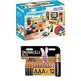 PLAYMOBIL City Life 9267 Wohnzimmer, Mit Lichteffekten, Ab 4 Jahren + Duracell Plus AAA Alkaline-Batterien, 12er Pack