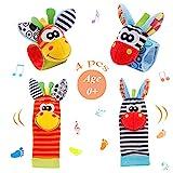 Baby Rasseln Socken Spielzeug 4PCS Handgelenk Rassel und Fuß Finder Socken Set Developmental Toys Kit für Neugeborene, Mädchen und Jungen 0 1 2 3 4 5 6 Monate (Orange)