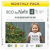 Eco by Naty, Größe 4, 156 Windeln, 7–18 kg, MONATSVORRAT, pflanzliche Premium-Bio‑Windeln mit 0% Plastik auf der Haut.