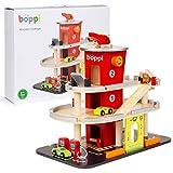 boppi – Spielzeug Auto Parkgarage. Parkhaus für Kinder inkl. 3 Autos und Hubschrauber, Autowaschanlage, Tankstäule und 3-stöckigem Lift aus Holz