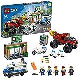 LEGO 60245 City Polizei Raubüberfall mit dem Monster-Truck, Bauset mit Van, Motorrad, Bankgebäude und Magnet-Stein
