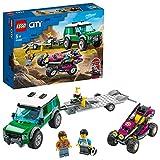 LEGO 60288 City Rennbuggy-Transporter, Spielzeug-Set mit Rennwagen und Autotransporter, LKW-Spielzeug ab 5 Jahre