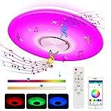 LED Deckenleuchte Farbwechsel mit Bluetooth Lautsprecher, Zorara 24W LED Deckenlampe Dimmbar RGB mit Fernbedienung, Musik Decken lampen Mit APP Steuerung 3000-6500K für Küche Wohnzimmer Kinderzimmer