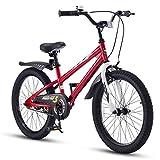 RoyalBaby Kinderfahrrad Jungen Mädchen Freestyle BMX Fahrrad Stützräder Laufrad Kinder Fahrrad 18 Zoll Rot