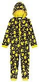 Pokemon Jumpsuit Kinder, Pikachu Einteiler Onesie Kinder Jungen 4-14 Jahre, Fleece Overall Kostüm mit Kapuze, Geschenke für Kinder (Gelb/Schwarz, 11-12 Jahre)