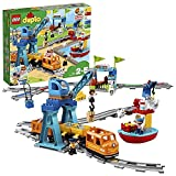 """LEGO 10875 DUPLO Güterzug, """"Push & Go""""-Lok mit Lichtern und Geräuschen, Funktionssteinen und 2 Kranen, Spielzeug für Kinder ab 2 Jahre"""