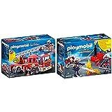 Playmobil City Action 9463 Feuerwehr-Leiterfahrzeug mit Licht und Sound, Ab 5 Jahren & City Action 9468 Feuerwehrmänner mit Löschpumpe, Ab 5 Jahren