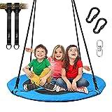 Vanku 300KG Nestschaukel für Kinder Erwachsene Outdoor Garten mit 100cm Sitzflächendurchmesser und belastbaren 2 600KG Schaukel Gurte Blau