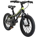 BIKESTAR Kinder Fahrrad Aluminium Mountainbike mit V-Bremse für Mädchen und Jungen ab 4-5 Jahre   16 Zoll Kinderrad MTB   Schwarz & Grün