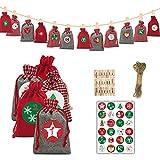 VEILTRON 2021 Red Christmas Adventskalender 24 Tage Hängende Kordelzug Süßigkeiten Taschen DIY