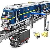 BGOOD Technik Zug Güterzug mit Schienen, 1192 Klemmbausteine Ferngesteuerter City Zug Eisenbahn mit Motor 3 Wagen, Gleise, Zubehör und Beleuchtungsset, Konstruktionsspielzeug Kompatibel mit Lego