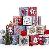 LIHAO Adventskalender zum Befüllen Box 24 Adventskalender Schachteln Weihnachtskalender Geschenkboxen Karton zum Aufstellen Weihnachten Deko Kästchen (MEHRWEG)