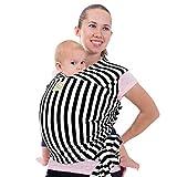 Tragetuch Alles-in-einem - Dehnbare Baby-Tragetücher - Babytrage - Kleinkindtrage - Baby-Tragetuch - Handfrei Babytragetücher – Babyparty-Geschenk - Einheitsgröße (Schwarze Streifen)