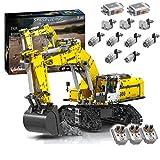 KEAYO Technik Ferngesteuert Bagger, Technik Groß Motorisierter Raupenbagger mit Motors, Klemmbausteine Bauset Kompatibel mit Lego Technik Bagger