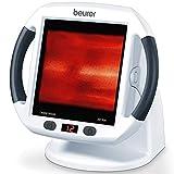 Beurer IL 50 Infrarot-Wärmestrahler, Medizinprodukt zur Behandlung von Erkältungen und Muskelverspannungen, Infrarotlampe mit 300 Watt Leistung 100% UV-Blocker und stufenlos verstellbarem Schirm,Weiß