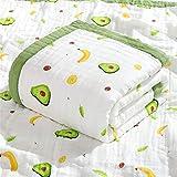 Wickeldecke Musselin Kinderwagendecke, Neugeborene Sommerdecke für Kleinkinder, 10 Schichten, Musselin Babydecke für Baby Junge (110 x 110 cm, grüne Avocado)