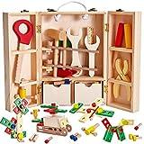 BUYGER Holz Werkzeugkoffer Werkzeugkasten Werkzeug Spielzeug für Kinder, Bausteine Holz Spielwerkzeugen Holzspielzeug Geschenk für Jungen Mädchen