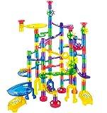 JOYIN 170 Stück Mehrfarbige Murmelbahn Marble Run Set mit 120 Kunststoffteile 50 Glasmurmeln, Bausteine, Kugelbahn Lernspielzeug, Bausteinspielzeug, Konstruktionspielzeug für Kinder