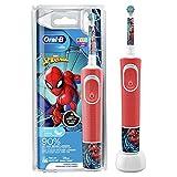 Oral-B Kids Spiderman Elektrische Zahnbürste für Kinder ab 3 Jahren, extra weiche Borsten, 2 Putzmodi inkl. Sensitiv, Timer, 4 Spiderman-Sticker, rot (Produkt kann von Abbildung abweichen)
