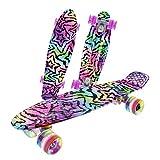 Caroma 22' Standard Skateboard für Anfänger, Adult Komplette Skateboards für Kinder Mädchen Jungen Jugendliche Erwachsene, mit Aluminiumlegierung Trucks, 60mm, 82A Härte LED Light Up Räder