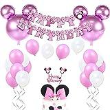 JOYMEMO Minnie Themed Geburtstag Dekorationen für Mädchen Rosa Minnie Party Supplies mit Minnie Mouse Kopf Ballons, Happy Birthday Garland und Cake Topper