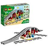 LEGO 10872 DUPLO Town Eisenbahnbrücke und Schienen, Bauset mit einem Funktionsstein
