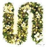 XIAOZSM Trockenblumen 2.7m LED künstlicher Weihnachtsbaum Rattan Weihnachten Rattan Girlande Dekorative Künstliche Blumen (Color : Gold, Size : with lamp)