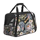 Haustiertasche Blume Transporttasche für Katzen und Hunde Faltbare Katzentransportbox Drucken Hundebox Atmungsaktiv und sicher 43x26x30 cm