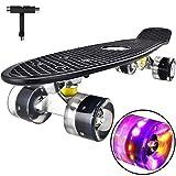 Skateboard Komplette Mini Cruiser Skateboard für Kinder Jugendliche Erwachsene, Led Leuchtrollen mit All-in-one Skate T-Tool für Anfänger (Black)