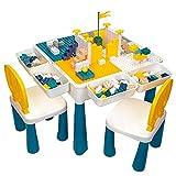 AMOSTING Höhenverstellbarer Kindertisch mit Stühle, Kinder Tisch Stuhl Set mit 100 Stück Bausteine Multifunktionaler Spieltisch Kinder zum Spielen